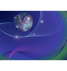 silver disco mirror ball background vector image
