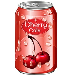 Cherry cola in aluminum can vector