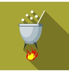 Witches cauldron with potion icon flat style vector image