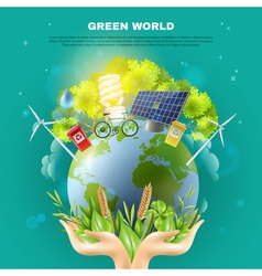 Green world ecology concept composition poster vector