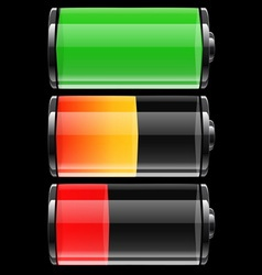 Battery set with color levels vector image