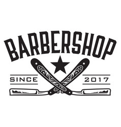 retro barbershop logo vector image