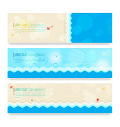 Set of modern abstract background in summer beach vector