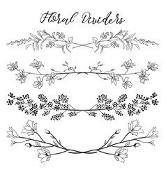 Black dividers with branches plants and vector