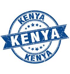 Kenya blue round grunge vintage ribbon stamp vector
