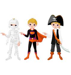 Halloween boy pointing vector