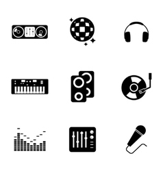 black dj icons set vector image