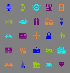 Birthday gift color icons on gray background vector
