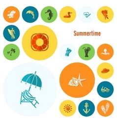 Summer and beach simple flat icons vector