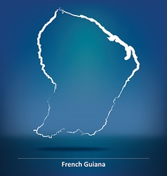 Doodle map of french guiana vector