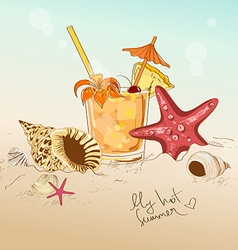 With seashells starfish and cocktail vector