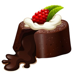 Chocolate lava cake with rasberry vector