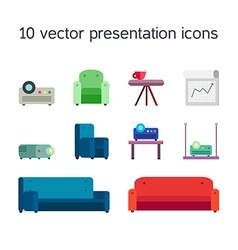 Presentation icons with projector and comfortable vector