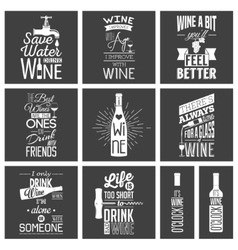 Set of vintage wine typographic quotes vector