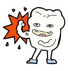 Comic cartoon strong healthy tooth vector