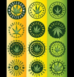 Cannabis marijuana hemp green leaf symbol stamps vector