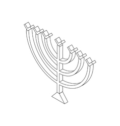 Hanukkah menorah isometric 3d icon vector