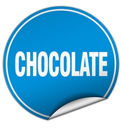 Chocolate round blue sticker isolated on white vector