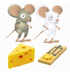 Two silly mice and piece of cheese in mousetrap vector