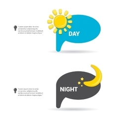 Sun and moon in sky day and night vector
