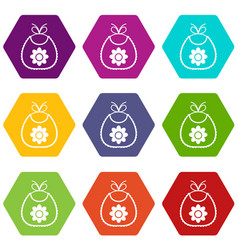 baby bib icon set color hexahedron vector image