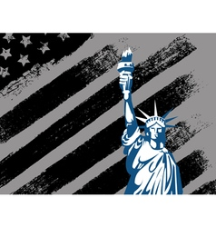 Black american design with statue of liberty flag vector