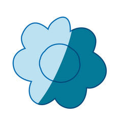 Blue silhouette caricature of flower in closeup vector