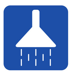 Blue white information sign - shower icon vector
