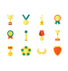 cartoon awards color icons set vector image vector image