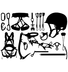 Climbing equipment silhouettes vector