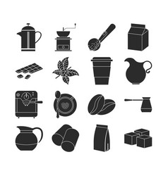 Collection of dark coffee icons vector