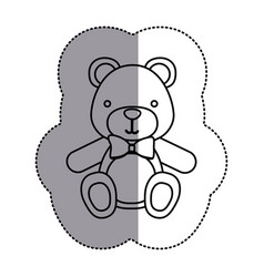 contour teddy bear with tie icon vector image
