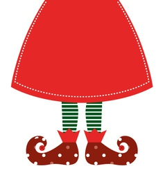 Cute christmas elf legs with skirt - red vector image vector image