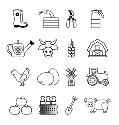 Farm agricultural icons set outline style vector