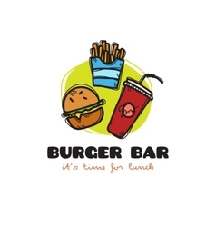 funny cartoon style snack bar logo with vector image vector image