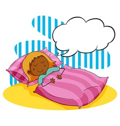 Girl sleeping in the bed vector image