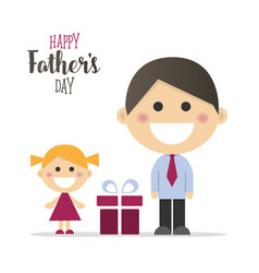 Happy fathers day card with a gift vector