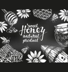 Honey frame drawn with chalk on blackboard design vector