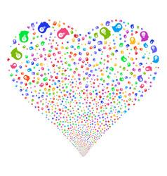 Intellect bulb fireworks heart vector