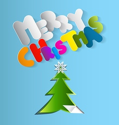 Merry Christmas Card Paper Cut Tree with Colorful vector image vector image