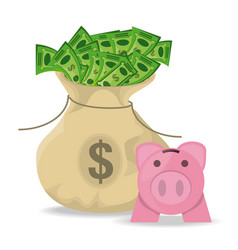 money bag with bills and piggy bank vector image vector image