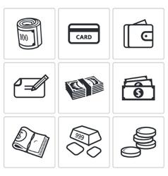 Money icon set vector