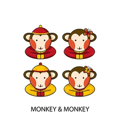 Monkey Chinese vector image vector image