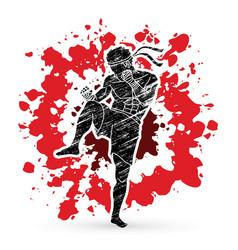 Muay thai thai boxing action vector