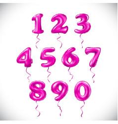 pink number 1 2 3 4 5 6 7 8 9 0 metallic balloon vector image