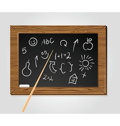 School black board with pointer and chalk vector