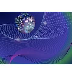 silver disco mirror ball background vector image vector image