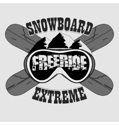 Snowboarding T-shirt winter sport emblem vector image