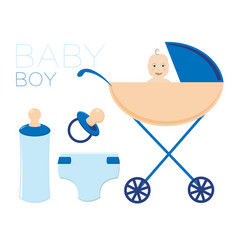 The child in the stroller the boy is a newborn vector