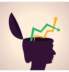 thinking concept-Human head with up down arrows vector image